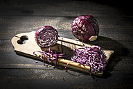 Whole and grated red cabbage with grater on dark wood - MAEF12115