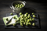 Brussel sprouts, cloth and kitchen knife on slate - MAEF12126