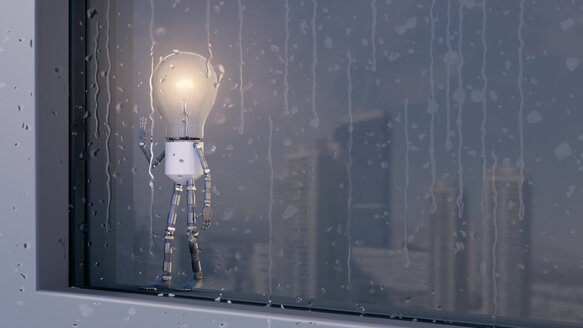 Light bulb looking out of rainy window - AHUF00303