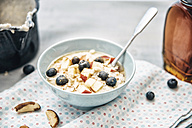 Vegan coconut milk porridge with blueberries, apple, brazil nuts and cinnamon - IPF00357