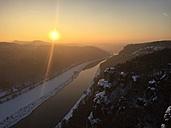 Germany, Saxony, Saxon Switzerland, Bastei region in winter - JTF00802