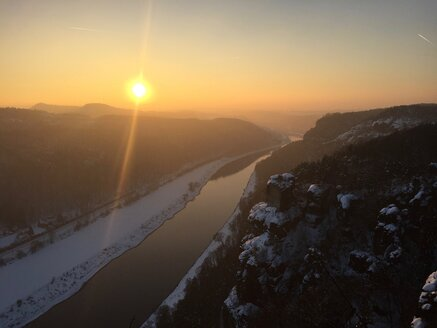 Germany, Saxony, Saxon Switzerland, Bastei region in winter - JTF00802