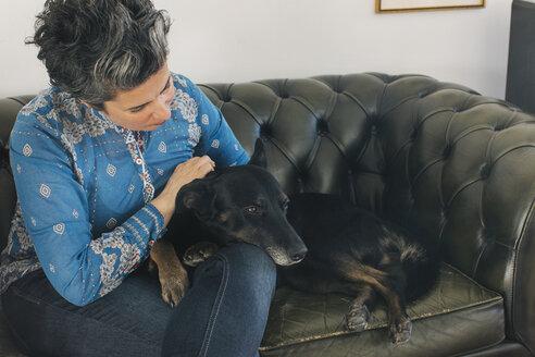 Woman stroking her dog - JUBF00205