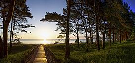 Germany, Ruegen Island, Binz, view to the sea at sunset - PUF00584
