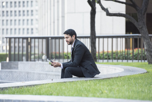 Businessman sitting on outdoor stairs having lunch and using cell phone - WESTF22603