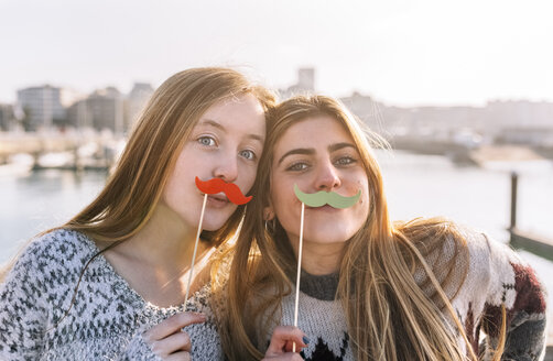 Portrait of two friends with toy moustaches - MGOF02962