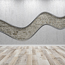 Concrete wall with wavy structure, 3d rendering - UWF01114
