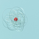 String shape with red spere in the center, 3d rendering - UWF01117