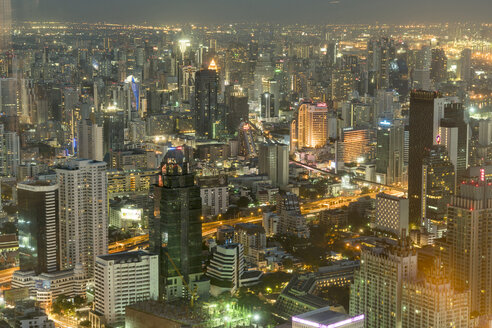 Thailand, Bangkok, cityscape by night seen from above - PCF00334