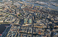 Germany, Hamburg, aerial view of city hall, Speicherstadt and Elbe - PVCF00974