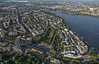 Germany, Hamburg, aerial view of Rotherbaum with Outer Alster Lake - PVCF00977