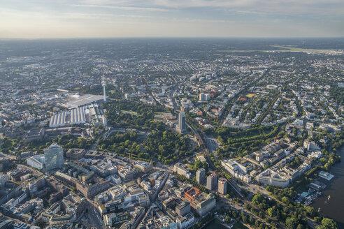 Germany, Hamburg, aerial view of Karolinenviertel with Heinrich-Hertz Tower - PVCF00980