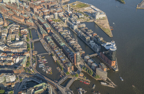 Germany, Hamburg, aerial view of Speicherstadt with Elbphilharmonie - PVCF00986