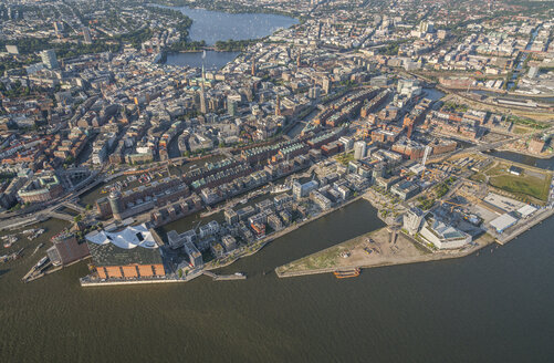 Germany, Hamburg, aerial view of the city with Elbphilharmonie - PVCF00989