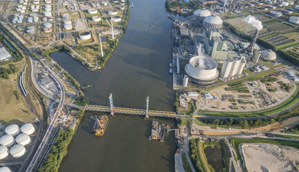 Germany, Hamburg, aerial view of harbor industrial area - PVCF00998