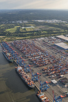 Germany, Hamburg, aerial view of container terminal Altenwerder - PVCF01001
