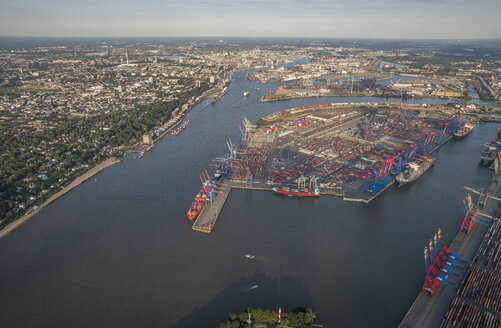 Germany, Hamburg, aerial view of container terminal Burchardkai - PVCF01004