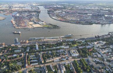 Germany, Hamburg, aerial view of Mitte Norderelbe, Dockland, Hamburg Cruise Center Altona, Container Terminal Tollerort - PVCF01007