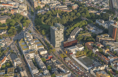 Germany, Hamburg, aerial view of St. Pauli with Dancing Towers office building - PVCF01010