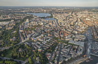 Germany, Hamburg, aerial view of Mitte with St. Michaelis Church - PVCF01013