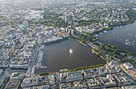 Germany, Hamburg, aerial view of Inner Alster Lake in the evening - PVCF01016