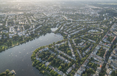 Germany, Hamburg, aerial view of Outer Alster Lake with Harvestehude - PVCF01019