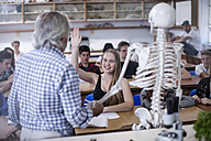 Teacher with anatomy model and students in class - ZEF12818