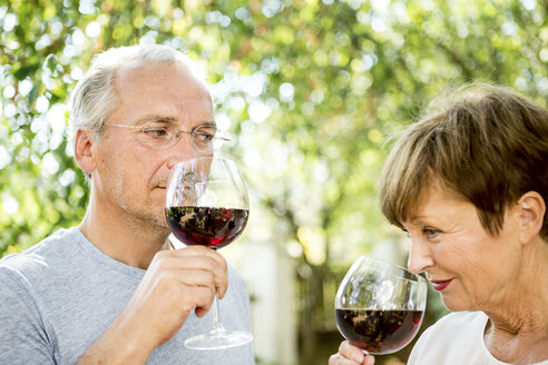 Senior couple having glass of red wine outdoors - WESTF22691