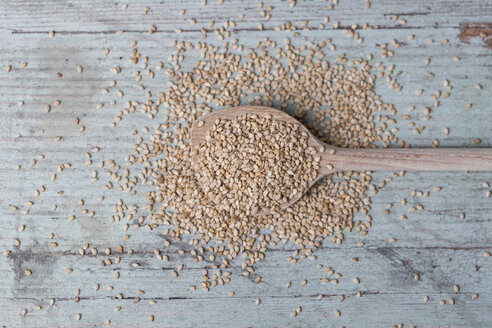 Wooden spoon and sesame seeds on wood - JUNF00833