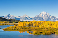 USA, Wyoming, Rocky Mountains, Teton Range, Grand Teton National Park, Snake River, Oxbow Bend, Mount Moran, Indian Summer - FOF08868