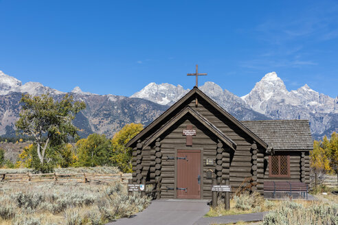 USA, Wyoming, Rocky Mountains, Grand Teton National Park, Cathedral Group and Chapel of the Transfiguration Episcopal - FOF08882
