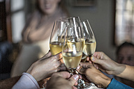 Group of friends raising a toast with champagne glasses - ZEF12876