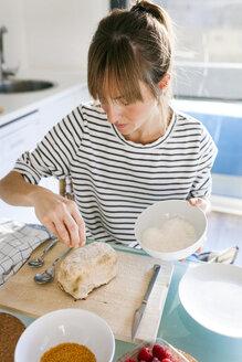 Young woman preparing vegan cake - VABF01190