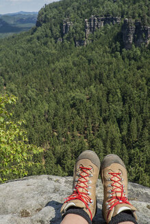 Germany, Saxony, Saxon Switzerland National Park, View on hiking shoes - LMF00604