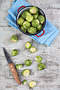 Brussels sprouts, kitchen knife and cooking pot - JUNF00848
