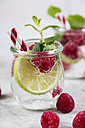 Glass of detox water with limes and rasperries decorated with mint leaves - JUNF00866