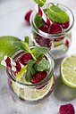 Glass of detox water with limes and rasperries decorated with mint leaves - JUNF00869