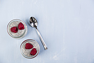 Glass of chia pudding with soya vanilla milk and raspberries - JUNF00872