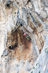 Greece, Kalymnos, climber in rock wall - LMF00663