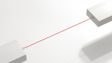 Two floating blocks connected by red string, 3D Rendering - UWF01124