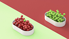Green and red spheres in bowls, 3D Rendering - UWF01127