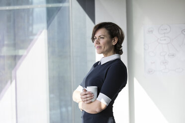 Smiling businesswoman with cup of coffee looking out of window - RBF05621