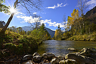 Germany, Allgaeu, river at backlight - FDF00218