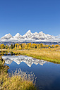 USA, Wyoming, Grand Teton National Park, view to Teton Range with Snake River in the foreground - FOF08896