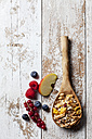Wooden spoon of granola with dried fruits and various fresh fruits on wood - CSF27916