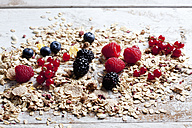 Granola with various wild berries on wood - CSF27922