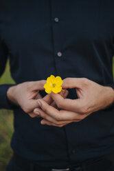 Man holding flower in his hand - KNSF01091