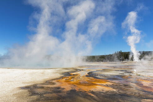 USA, Yellowstone National Park, Black Sand Basin, steaming Rainbow Pool - FOF08910