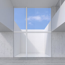 Empty room with glass wall to atrium, 3D Rendering - UWF01128