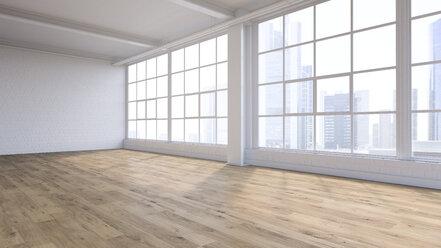 Empty loft with view at skyline, 3D Rendering - UWF01131